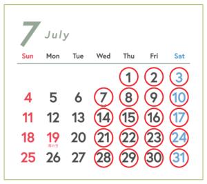 7月の営業予定